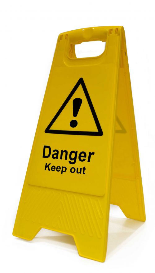Danger Keep Out Heavy Duty A Board made from polypropylene and are printed on both sides. Size 620 x 300 x 450mm