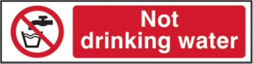 Not Drinking Water' Sign; Self-Adhesive Semi-Rigid PVC (200mm x 50mm)