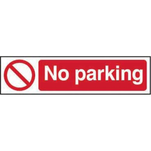 Self adhesive semi-rigid PVC No Parking sign (200 x 50mm). Easy to fix; peel off the backing and apply to a clean and dry surface.
