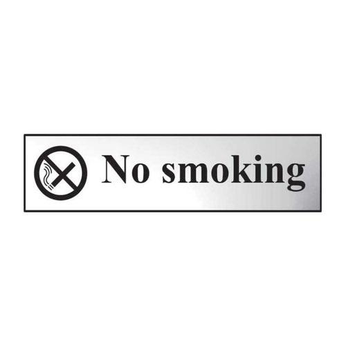 No Smoking' Sign; Chrome Effect; Self-Adhesive PVC (200mm x 50mm)
