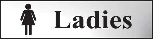Self adhesive semi-rigid Ladies Sign in Polished Chrome Effect (200 x 50mm). Easy to fix; peel off the backing and apply.