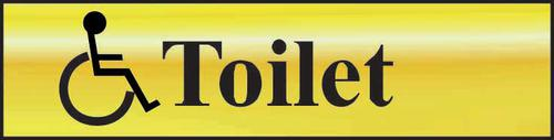 Self adhesive semi-rigid Toilet (with disabled symbol) Sign in Polished Gold Effect (200 x 50mm). Easy to fix; peel off the backing and apply.