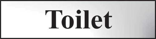 Self adhesive semi-rigid Toilet Sign in Polished Chrome Effect (200 x 50mm). Easy to fix; peel off the backing and apply.