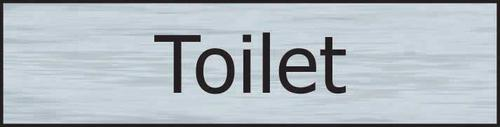 Self adhesive semi-rigid Toilet Sign in Stainless Steel Effect (200 x 50mm). Easy to fix; peel off the backing and apply.