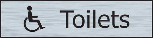 Self adhesive semi-rigid Toilets (with disabled symbol) Sign in Stainless Steel Effect (200 x 50mm). Easy to fix; peel off the backing and apply.