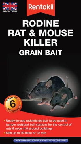 Rentokil Rat & Mouse Killer Grain Bait - 6 Sachet