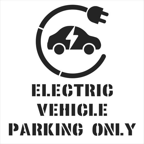 Electric vehicle parking only with symbol stencil - (1000 x 1000mm)