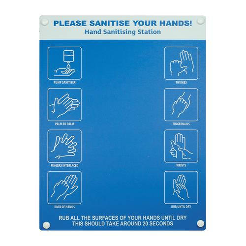 Hand sanitiser board no dispenser - 6 image design - Blue (300 x 400mm)