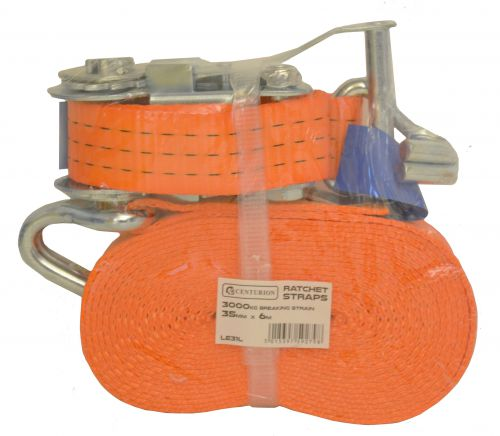 Heavy Duty Ratchet Strap. Allows goods to be secured when in transit. Strap width 35mm; length 6m. Breaking strength 3000kgs. Conforms to EN12195-2. Strapping LE31L