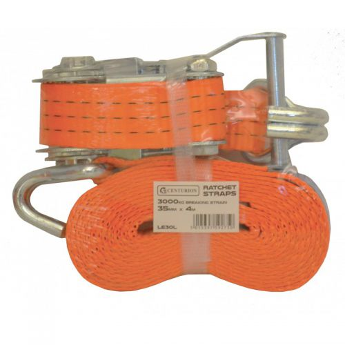 Heavy Duty Ratchet Strap. Allows goods to be secured when in transit. Strap width 35mm; length 8m. Breaking strength 3000kgs. Conforms to EN12195-2. Strapping LE32L