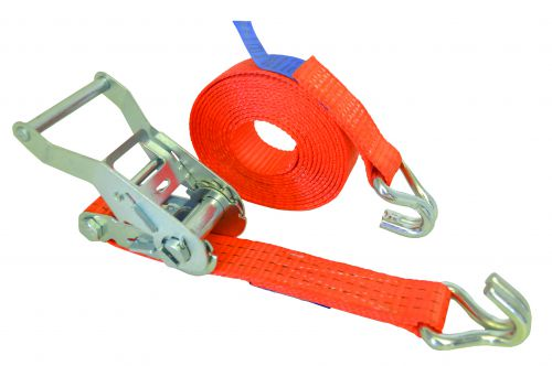 Light Duty Ratchet Strap. Allows goods to be secured when in transit. Strap width 25mm; length 4.5m. Breaking strength 750kgs. Conforms to EN12195-2.