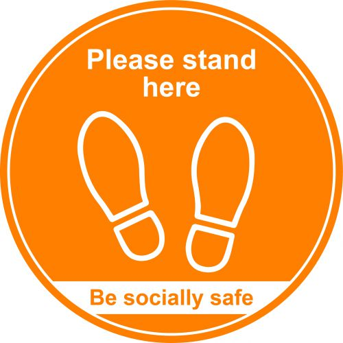 Amber Social Distancing Floor Graphic - Please Stand Here (400mm dia.)
