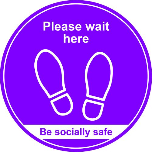 Purple Social Distancing Floor Graphic - Please Wait Here (400mm dia.)