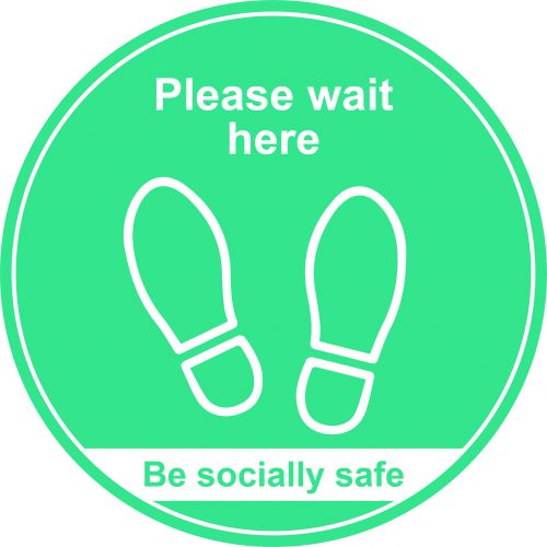 Turquoise Social Distancing Floor Graphic - Please Wait Here (400mm dia.)