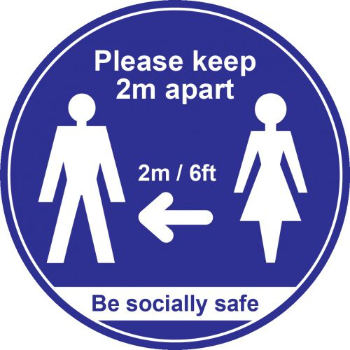 Blue Social Distancing Floor Graphic - Please Keep 2m/6ft Apart (400mm dia.)