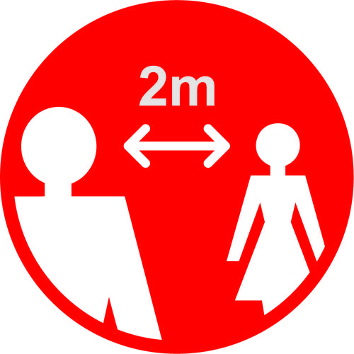 Red Social Distancing Floor Graphic - 2m Apart (400mm dia.)