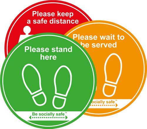 Keep Safe Distance Traffic Light Pack; Self Adhesive Floor Graphic (400m) 3pk
