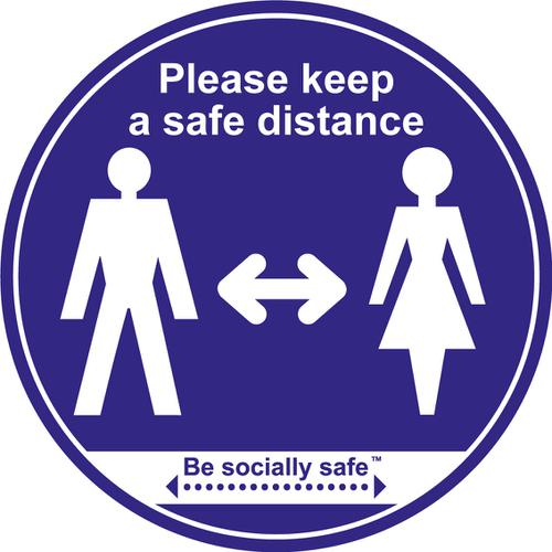 Please Keep Safe Distance Apart; Self Adhesive Floor Graphic; Blue (400mm)