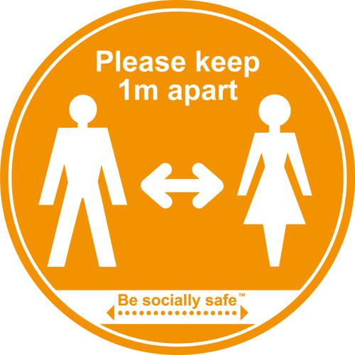 Please Keep 1m Apart; Self Adhesive Floor Graphic; Amber (400mm)