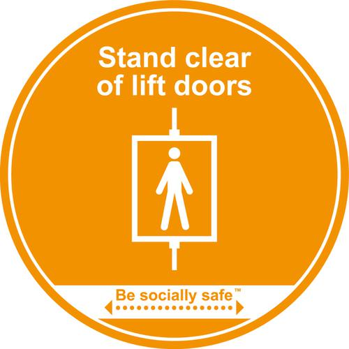 Stand Clear Of Lift Doors; Self Adhesive Floor Graphic; Amber (400mm)