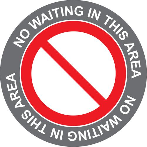 No Waiting In This Area; Self Adhesive Floor Graphic; Amber (400mm)