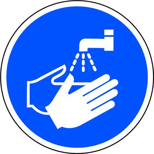 Blue Social Distancing Floor Graphic - Wash Hands (400mm dia.)