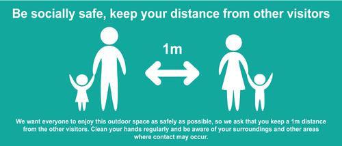 Keep 1m Safe Distance Temporary Road Sign; Turquoise (1050 x 450mm)