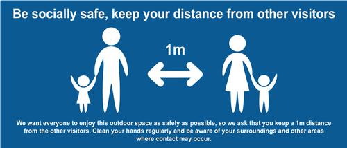 Keep 1m Safe Distance Temporary Road Sign; Blue (1050 x 450mm)
