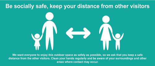 Keep A Safe Distance Temporary Road Sign; Turquoise (1050 x 450mm)