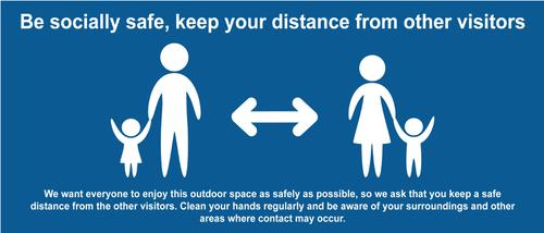 Keep A Safe Distance Temporary Road Sign; Blue (1050 x 450mm)