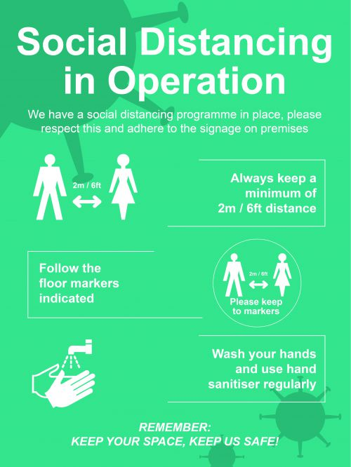 Social Distancing in Operation Rigid PVC Sign (600 x 800mm)