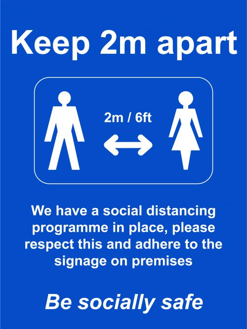 Social Distancing Rigid PVC Board Sign - Keep 2m/6ft Apart (600 x 800mm)