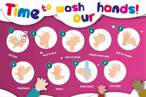 Hand Hygiene Rigid PVC Sign - Time To Wash Our Hands (600mm x 400mm)