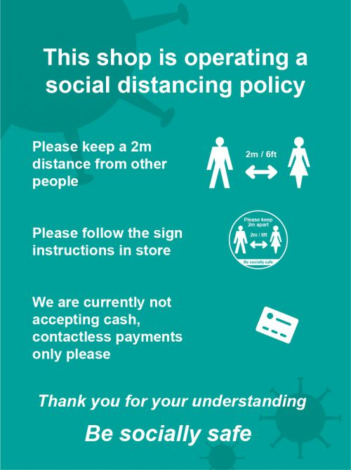 Social Distancing Self Adhesive Vinyl Sign - This Shop Is Operating A Social Distancing Policy A (300mm x 400mm)