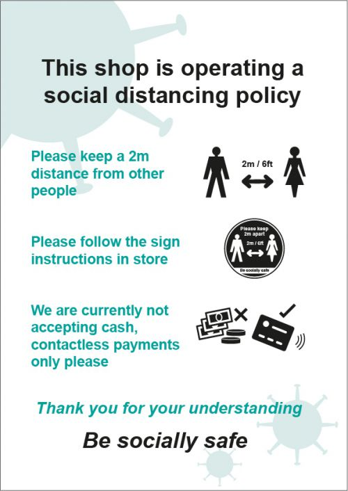 Social Distancing Rigid PVC Sign - This Shop Is Operating A Social Distancing Policy D (210mm x 297mm)