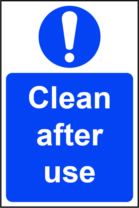 Mandatory Rigid PVC Sign (200 x 300mm) - Clean After Use