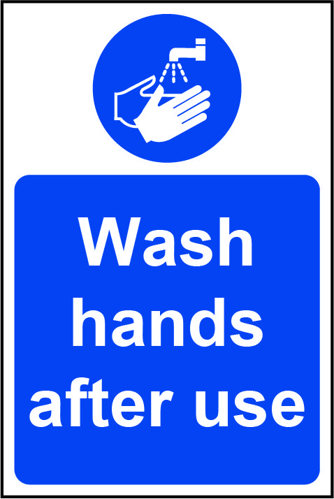 Mandatory Self-Adhesive Vinyl Sign (200 x 300mm) - Wash Hands After Use