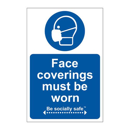 Face Coverings Must Be Worn Sign; Self Adhesive Vinyl (200 x 300mm)