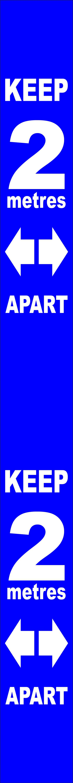 Blue Social Distancing Self Adhesive Semi Rigid PVC Wall Distance Marker (800 x 75mm)