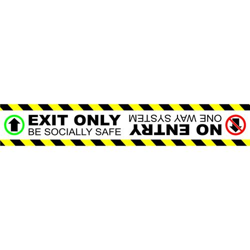 Social Distancing Floor Graphic Self Adhesive Vinyl (600 x 100mm) = Exit Only No Entrance