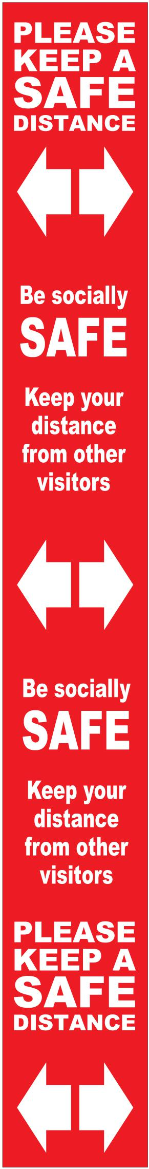 Floor Distance Marker Keep Safe Distance Floor Graphic; Self Adhesive Vinyl Laminated; Red (800 x 100mm)
