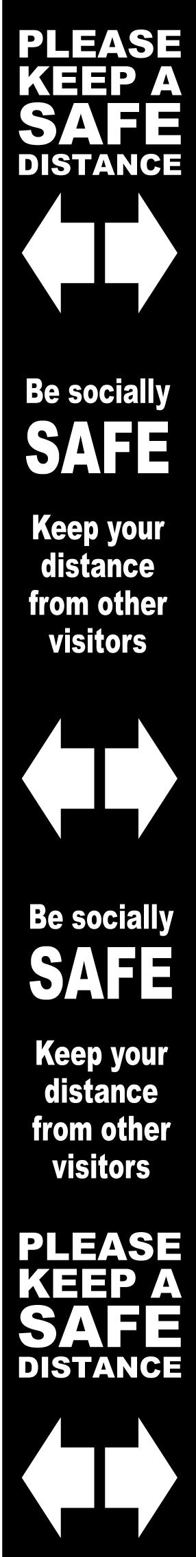 Floor Distance Marker Keep Safe Distance Floor Graphic; Self Adhesive Vinyl Laminated; Black (800 x 100mm)