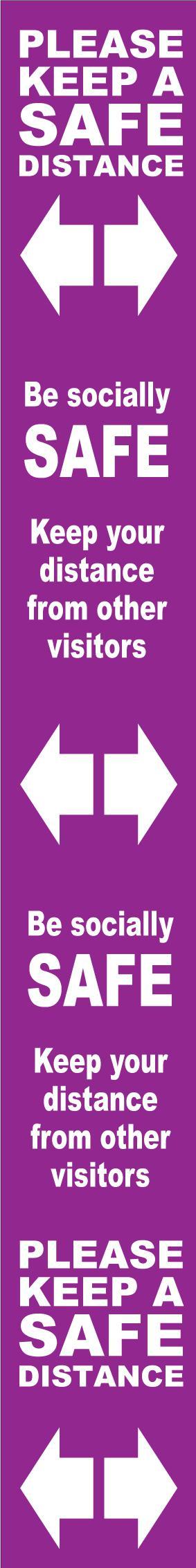 Floor Distance Marker Keep Safe Distance Floor Graphic; Self Adhesive Vinyl Laminated; Purple (800 x 100mm)