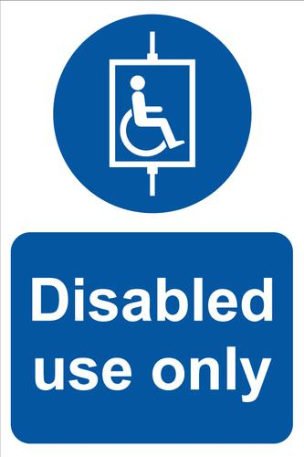 Disabled Use Only Sign; Rigid 1mm PVC Board ( 200 x 300mm)