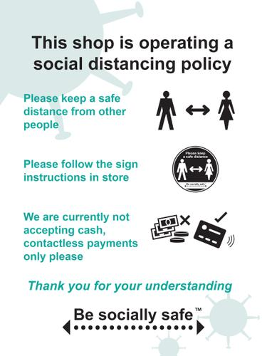 This Shop Is Operating A Social Distancing Policy B Sign; Rigid 1mm PVC Board (300 x 400mm)