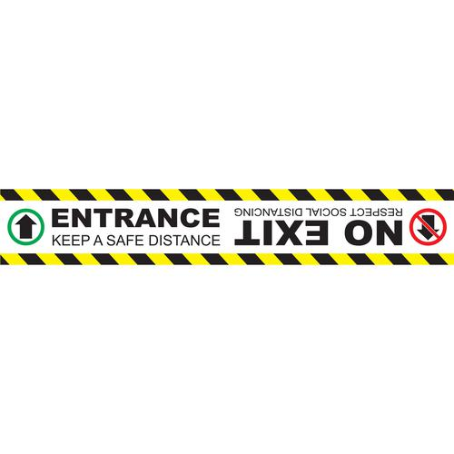 Entrance Please Keep Apart No Exit Floor Marker; Self Adhesive Vinyl Laminated (600 x 100mm)