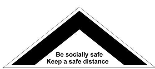 Floor Distance Chevron Keep Safe Distance Floor Graphic; Self Adhesive Vinyl Laminated (500 x 200mm)