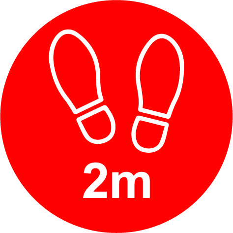 Red Social Distancing Floor Graphic - 2m Apart (200mm dia.)