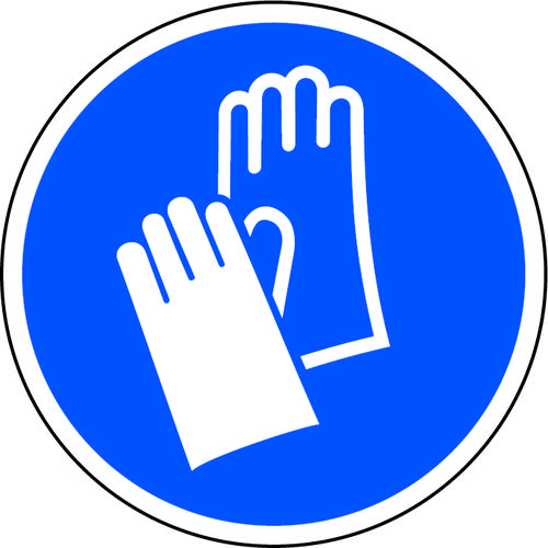 Blue Social Distancing Floor Graphic Wear Gloves (200mm dia.)