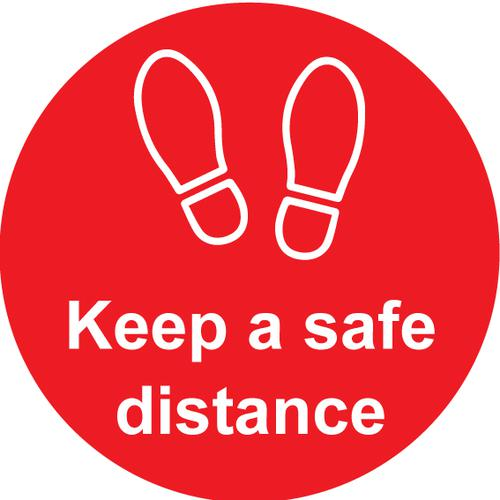 Keep A Safe Distance Floor Graphic; Self Adhesive Vinyl Laminated; Red (200mm dia)